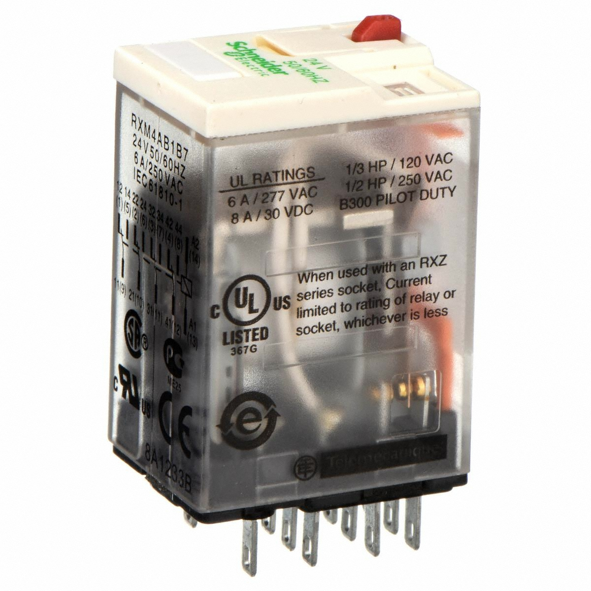 Schneider Electric Socket Mount Relay 4pdt Pole Throw Configuration Current Rating 14 Terminals Terminal 24v Ac Control Volt Gamut