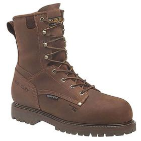 Carolina Leather Work Boot: Men, Plain, 8 in Shoe Ht, Brown, Insulated/Waterproof, Electrical Hazard Rated, 13 Men's Size, 3E Shoe Wd, 1 PR