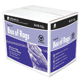 Cloth Rag: 100% Cotton, Recycled, Assorted, 4 lb Size, Box