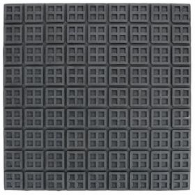 Heavy Duty Vibration Control Waffle Pad: Neoprene, Black, 180 lb Max Load Capacity, 3/8 in Thickness, 18 in Lg, 18 in Wd