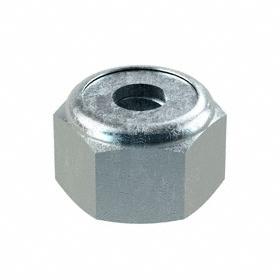 Nylon Insert Locknut: Steel, Zinc Plated, 8-32 Thread Size, 23/64 in Wd, 1/4 in Ht, 100 PK