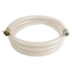Water Hose Assembly: 4 in Hose ID, PVC, White & Clear, 4 Fitting Size, NPSM, Female, Male, 50 psi Max Op Pressure
