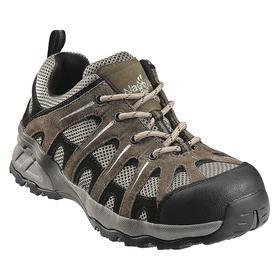 Athletic-Style Work Shoe: Gen Use, D Shoe Wd, 12 Men's Size, Men, Composite, Leather/Mesh, Gray/Khaki, 1 PR