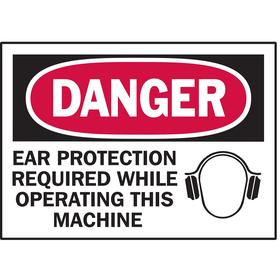 Brady Personal Protective Equipment Sign: 3.5 in Overall Ht, 5 in Overall Wd, Polyester, Self-Adhesive, Danger, White, 5 PK