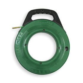 Greenlee Fish Tape for Multidirectional Runs: Fiberglass, Round, 100 ft Overall Lg, 3/16 in Tape Dia, Green