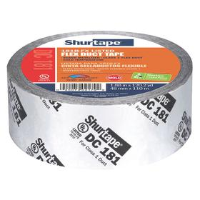 Shurtape HVAC Duct Tape: Polypropylene, Acrylic, 48 mm Overall Wd, 0.0028 in Overall Thickness, 110 m Overall Lg, Silver