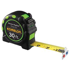 Magnetic Tip Tape Measure: 30 ft Tape Lg, 1 in Tape Wd, Manual, Plastic, Nylon