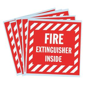 Brady Information Label: 4 in Overall Ht, 4 in Overall Wd, Single, Vinyl, Fire Extinguisher Inside, English, Text, 5 PK