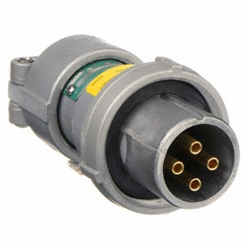 Pin & Sleeve Plug: 4 Contacts, 30 A Current, 600V AC, 4 Poles, Aluminum, For 0.5 in Min Cable OD