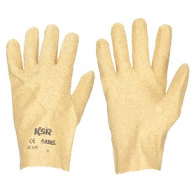 Ansell KSR Work Glove: Coated Fabric Glove, Full Dip, Vinyl Palm, Pinked Cuff, Vinyl Coating, Smooth, Tan, XL Size, 1 PR