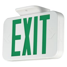 Hubbell Impact Resistant Plastic Lighted Exit Sign: 1/2 Faces, Directional Indicators, Green, 7 1/4 in Overall Ht, 2 in Overall Dp