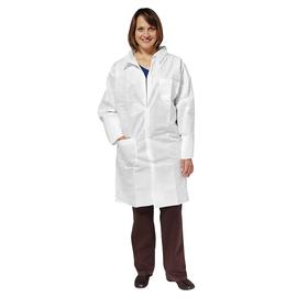 Disposable Lab Coat: L Size, SMS, White, Snap, 0 ISO Clean Room Class, 2 Pockets, Unisex, 25 PK