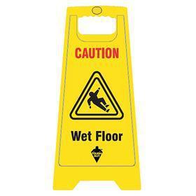 Slip Hazard Sign: Caution, 24 in Overall Ht, 12 in Overall Wd, Plastic, Floor