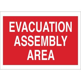 Emergency Assembly Point Sign: Evacuation Assembly Area, 5 in Overall Ht, 7 in Overall Wd, Vinyl, Self-Adhesive