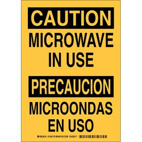 Brady Radiation Sign: 10 in Overall Ht, 7 in Overall Wd, Polyester, Self-Adhesive, Caution/Precaucion, Text, Yellow