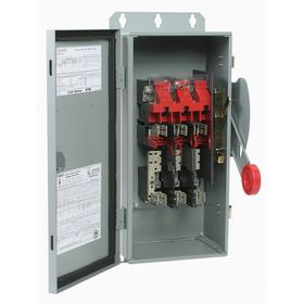 Eaton Safety Switch: Single/Three Phase, 3 Poles, Steel, 30 A at 600V AC Switch Rating, 8 1/2 in Enclosure Ht, Metallic