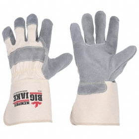 Work Glove: Fabric-Backed Leather Palm Glove, M Size, Cowhide, Gauntlet Cuff, Gray/White, 1 PR