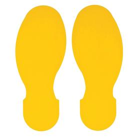 Brady Footprint Floor Marking Tape: Industrial Tape Strength, Removable, 10 in Tape Ht, 3 1/2 in Tape Wd, Yellow, 10 PK