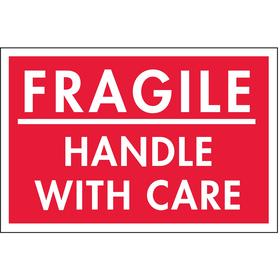 Shipping Label: Fragile Handle With Care, 2 in Label Ht, 3 in Label Wd, 500 PK
