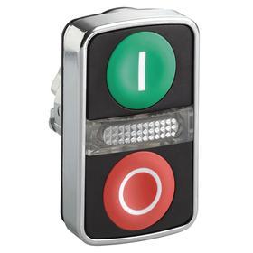 Schneider Electric Multi-Head Push Button: 22 mm Compatible Panel Cutout Dia, 2 Operators, Illuminated, I/O, Momentary