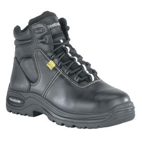 Reebok Leather Work Boot: Men, Composite, 6 in Shoe Ht, Black, Metatarsal Guard, Electrical Hazard Rated, Better Mfr Suggested Sole Slip Rating, 1 PR