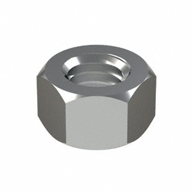 """Hex Nut: Chrome Plated, Grade 2 Material Grade, Steel, 3/8""""-16 Thread Size, 9/16 in Wd, 11/32 in Ht, Imperial, 50 PK"""
