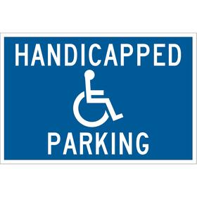 Brady Accessible Parking Sign: 12 in Overall Ht, 18 in Overall Wd, Aluminum, High Intensity, Blue, Handicapped Parking
