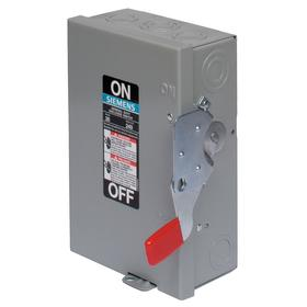 Siemens Standard-Duty Disconnect Switch: Single Phase, 2 Poles, 60 A @ 240V AC Switch Rating, Indoor, NEMA 1 NEMA Rating