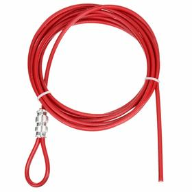 Brady Single Loop Cable Spool: 10 ft Cable Lg, 3/16 in Cable Dia, 1 Loops, Sheathed Metal, Red