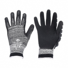 Work Glove: Coated Fabric Glove, M Size, Right Hand Reinforced for Left Handed Users, Knit Cuff, Cotton Blend, 1 PR