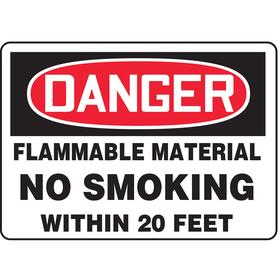 Accuform No Smoking Sign: 10 in Overall Ht, 14 in Overall Wd, Vinyl, Self-Adhesive, Danger, Flammable Material No Smoking Within 20 Feet