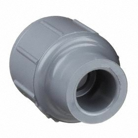 CPVC Pipe Coupling: Slip Joint, 1 1/2 Pipe Size (Port 1), 1/2 Pipe Size (Port 2), 471 psi Max Op Pressure, Gray