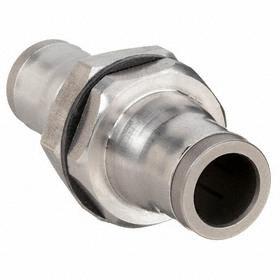 Parker Hannifin Push-to-Connect Union: Bulkhead Union, 10 mm Port 1 Tube Size, 10 mm Port 2 Tube Size, 2 PK