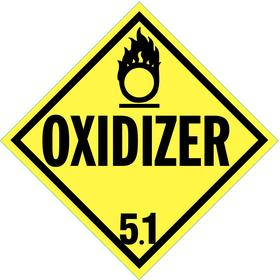 Stranco DOT Vehicle Placard: Oxidizer, 10 3/4 in Overall Ht, 10 3/4 in Overall Wd, Vinyl, Self-Adhesive, Yellow, 10 PK