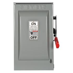 Siemens Heavy Duty Safety Disconnect Switch: Three Phase, 3 Poles, 60 A @ 600V AC Switch Rating, Outdoor, Galvanized