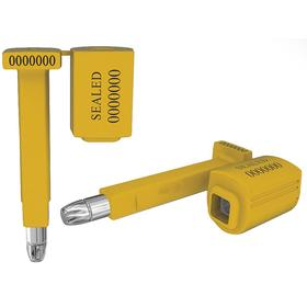 Security Seal: 3 1/2 in Overall Lg, Yellow, 21/64 in Cable Dia, For Container/Rail Car/Trailer, 7 Digits, 20 PK