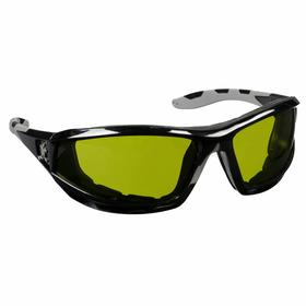 MCR Safety Glasses: Green, Full Frame, Scratch Resistant, Black, ANSI Z87+, Polycarbonate, Adj Neck Cord, Dusty Environments/Impact Protection