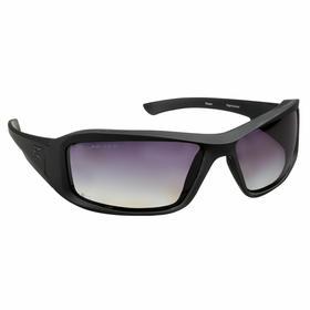 Edge Safety Glasses: Gray, Full Frame, Scratch Resistant, Black, ANSI Z87.1+2015/MCEPS GL-PD 10-12, Nylon, 5.5 in Arm Lg