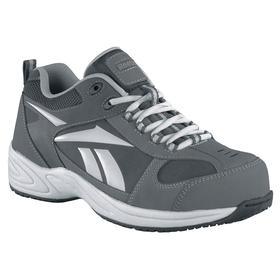 Athletic-Style Work Shoe: Gen Use, D Shoe Wd, 10 1/2 Men's Size, Men, Composite, Leather, Gray, 1 PR