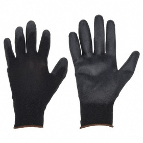 Work Glove: Coated Fabric Glove, L Size, ANSI Cut-Resist Level 2, Knit Cuff, Polyester Glove, Polyurethane Palm, 1 PR