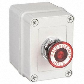 Emergency Stop Push Button Station: Maintained, Red, 3.66 in Overall Wd, 4.36 in Overall Ht, 3.18 in Overall Dp, Round, Gray