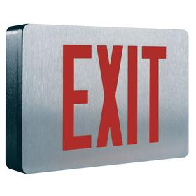 Eaton Lighted Exit Sign: 2 Faces, Green/Red, 8 1/4 in Overall Ht, 12 5/8 in Overall Lg, 2 1/4 in Overall Dp, Aluminum