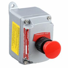 Emerson Emergency Stop Push Button Station: Maintained, Red, 3 in Overall Wd, 4.63 in Overall Ht, 4.69 in Overall Dp, Round