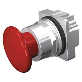 Siemens Push Button Operator: Mushroom Operator, Non-Illuminated, Maintained/Momentary, Chrome, 18 Haz Material Indicator