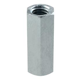 """Coupling Nut: Zinc Plated, Carbon Steel, 5/8""""-11 Thread Size, 13/16 in Wd, 2 1/8 in Ht, Right Hand, Imperial, UNC, 2 PK"""