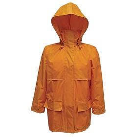 Viking Rain Jacket: Polyester, Yellow, Hook & Loop Storm Flap/Zipper, Men, Detachable Hood, 34 in Overall Lg, L Size