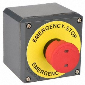 GE Emergency Stop Push Button Station: Red, 2.95 in Overall Wd, 3.43 in Overall Ht, 3.43 in Overall Dp, 1 Operators, Round, Steel
