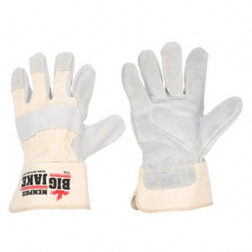 Work Glove: Fabric-Backed Leather Palm Glove, XL Size, ANSI Cut-Resist Level 3, Safety Cuff, Cowhide, Gray/White, 1 PR