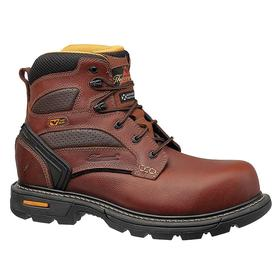 Thorogood Leather Work Boot: Men, Plain, 6 in Shoe Ht, Brown, Gen Use, Electrical Hazard Rated, Completely Non Metallic, 1 PR