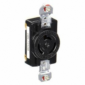 Hubbell Non-NEMA Turn-Locking Female Receptacles' Corrosion Resistant: Single Phase, 3 Contacts, 20 A Current, Black